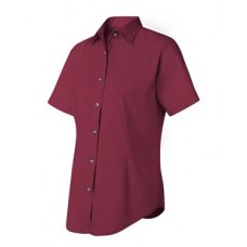 Women's Short Sleeve Stain-Resistant Tapered Twill Shirt