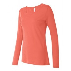 Ladies' Semi-Sheer Long Sleeve Scoopneck T-Shirt