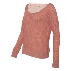 Juniors' Wide Neck Sweaterfleece Crew
