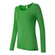 Ladies' Semi-Sheer Long Sleeve Scoopneck T-Shirt