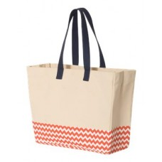 Patterned Bottom Beach Tote