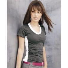 Juniors' Burnout V-Neck Side Stripe T-Shirt