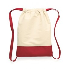 10 Ounce Cotton Canvas Contrast Bottom Drawstring Backpack