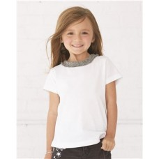 Toddler Girls' Ruffle Neck Fine Jersey Tee
