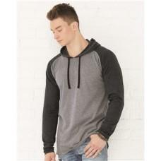 Fine Jersey Long Sleeve Hooded Raglan T-Shirt